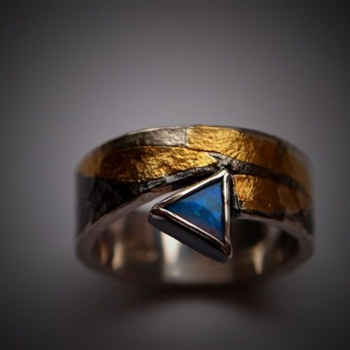 Mark Szupicki || Ring called BLUE ARROW. Silver 925 with burnished 24ct gold, Australian Opal.