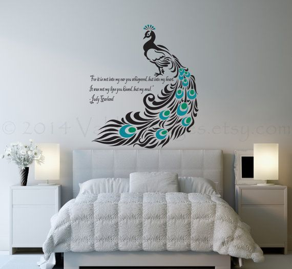 Peacock Wall Decal Love Quote Decal Wall Sticker By Valdonimages 90 00 Homedecor Peacock Teal D Wall Decals For Bedroom Peacock Wall Art Bird Wall Decals
