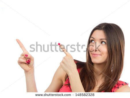 Portrait of young woman pointing hands finger at corner with copyspace isolated on a white background - stock photo