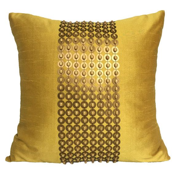 Mustard Yellow Throw Pillow Cover With Gold Sequin And Wood Beads 20x20 Accent Pillow Beaded Pillow Cov Yellow Throw Pillows Pillows Yellow Throw Pillow Covers