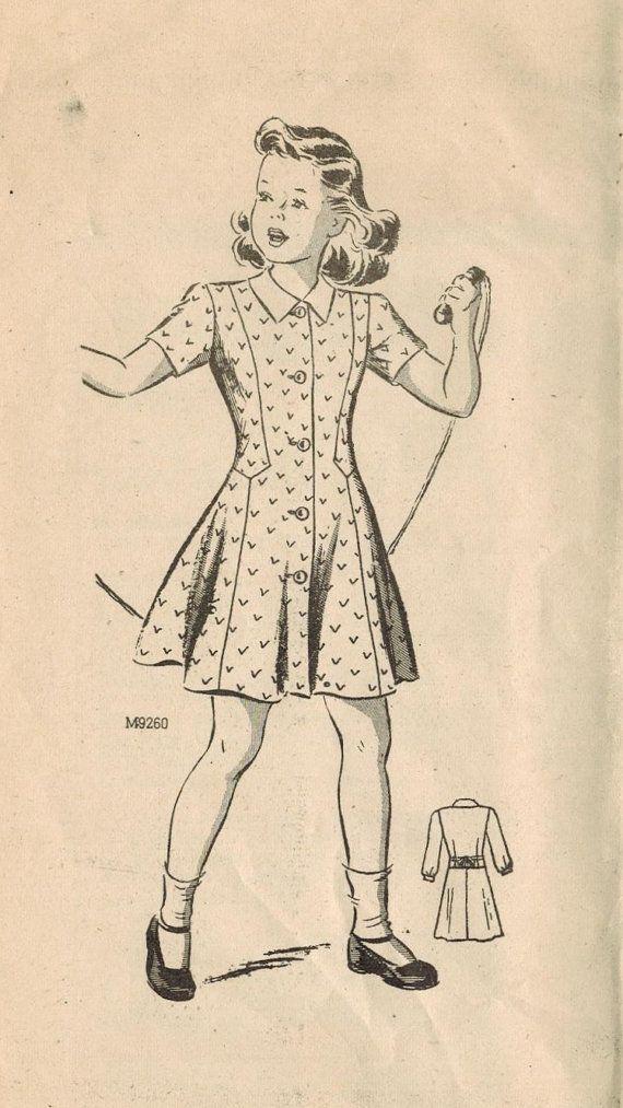 1940s Mail Order 9260 FF Vintage Sewing Pattern Girl\'s Princess ...