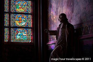 Notre-Dame, Paris, stained, glass, windows, light, coloured, statue