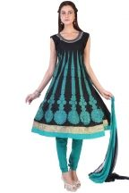 Designer Embroidered Festival Anarkali Kameez; Black and Bondi Blue Cotton Embroidered Party and Festival Anarkali Kameez