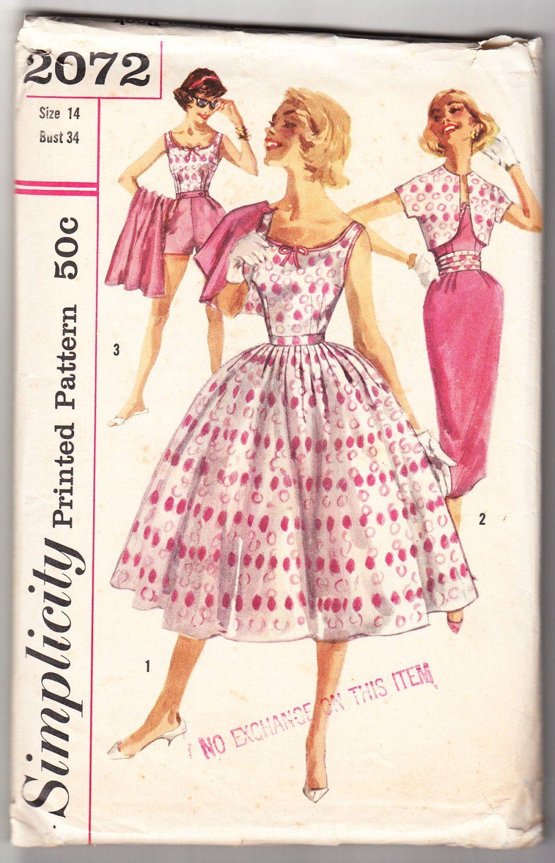 Vintage 1957 Simplicity 2072 Sewing Pattern Misses'