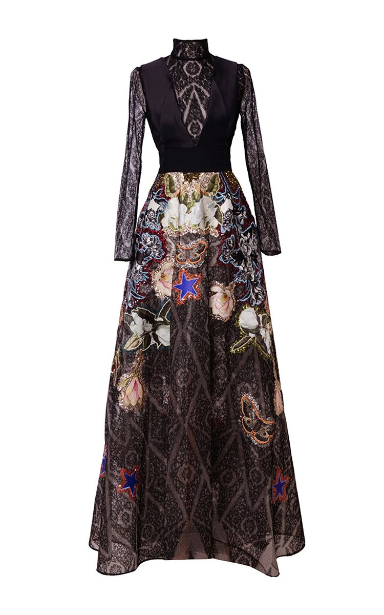 Lace embellished long a line dress by hussein bazaza for preorder on