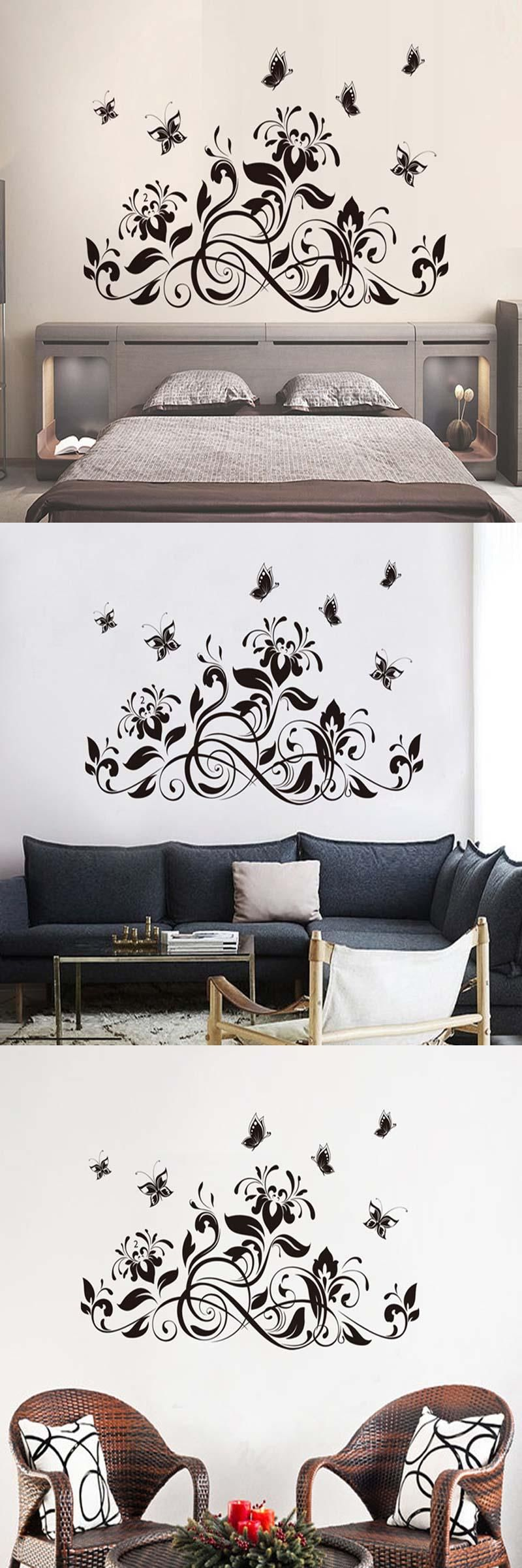 Bedroom interior setting visit to buy black cane adornment butterfly on the wall sitting