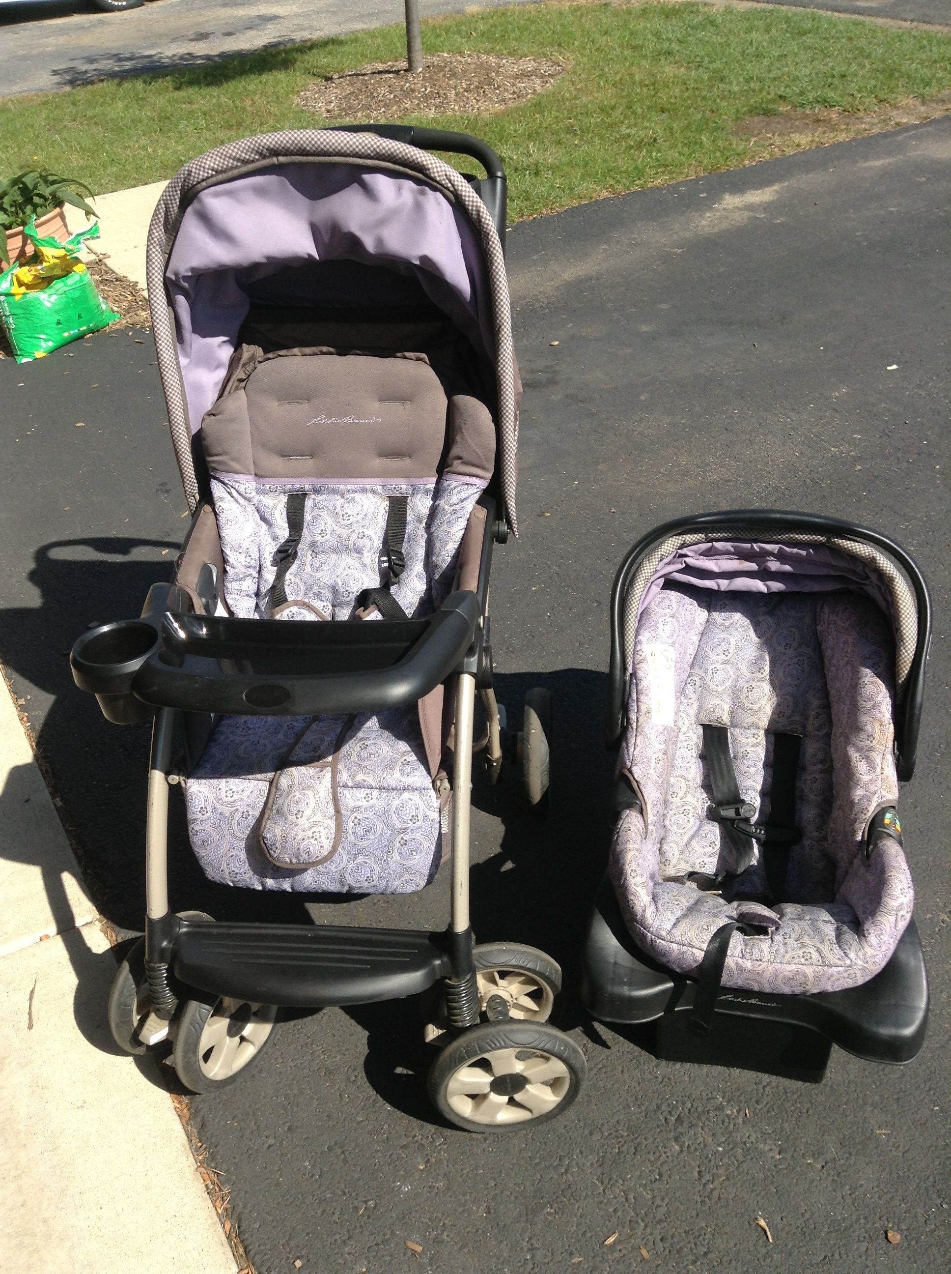 Full Size Ed Bauer Stroller With Matching Infant Car Seat And Base
