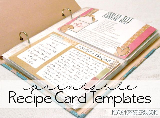 Printable Recipe Card Templates  Recipe Cards Planners And Happy