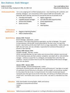 Bank Manager Cv Example Cv Examples Cv Profile Examples Free Resume Examples
