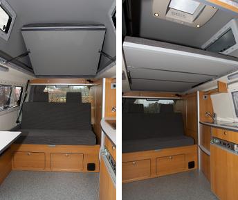 bildergebnis f r hochdach t5 bett ausbauen wohnmobil umbau wohnen und campingbus ausbau. Black Bedroom Furniture Sets. Home Design Ideas