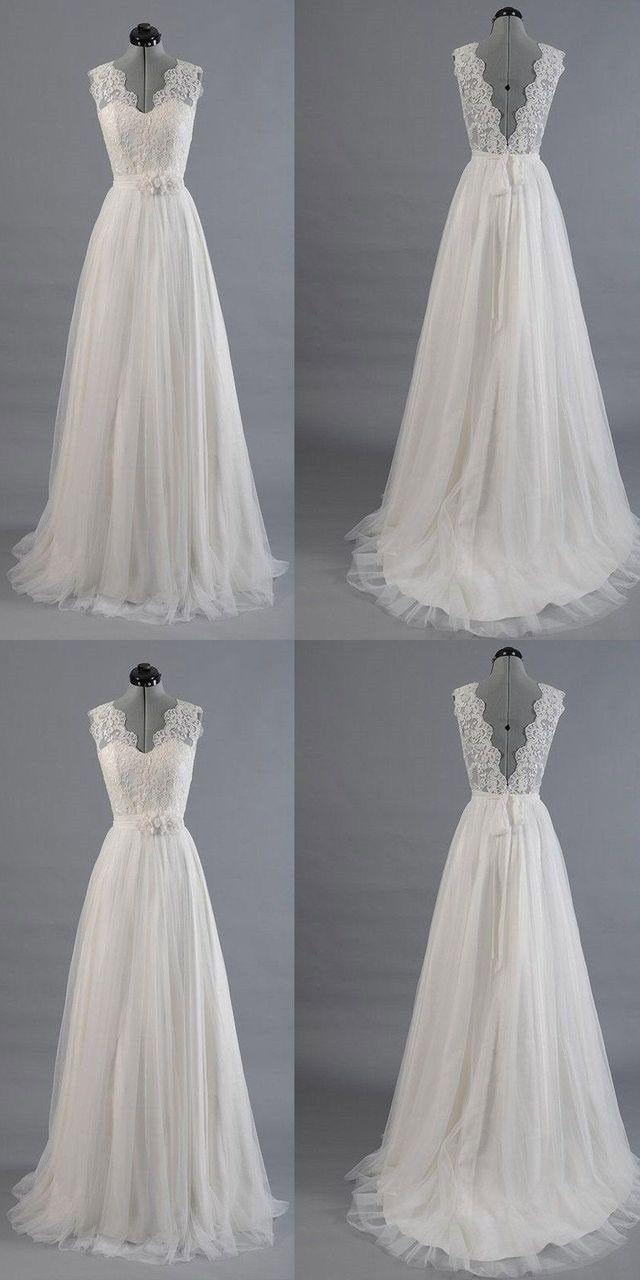 Charming V Neck V Back Long Wedding Dresses With Sash P1508 #weddingdresses