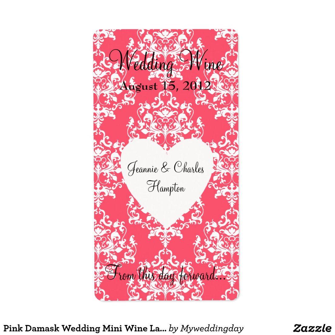 Pink Damask Wedding Mini Wine Label | Wine / Champagne Bottle Labels ...