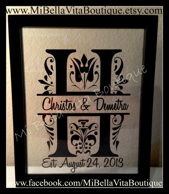 custom monogram split letter floating frame 11x14 personalized makes a great anniversary and wedding gift on