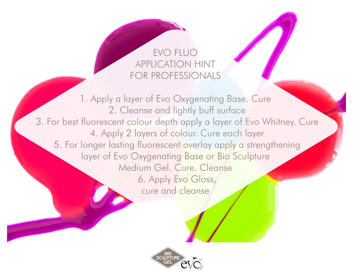 All Evo colour gels, including the new Evo Fluos are applied in four
