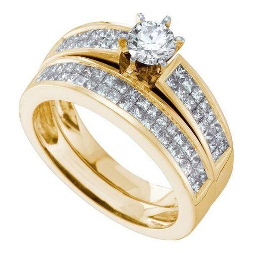 14KT Yellow Gold 1.30CTW DIAMOND 0.45CT ROUND CENTER BRIDAL SET