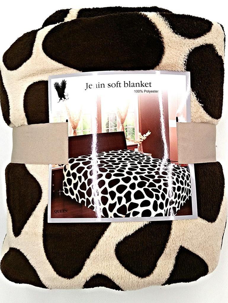 Soft fleece microfiber throw blanket giraffe super soft queen