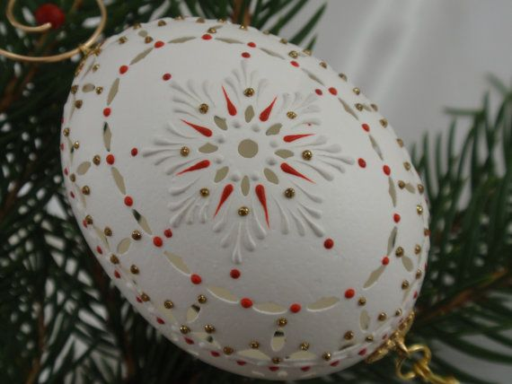 Christmas Ornament On Chicken Egg Carved And Wax By Eggstrart