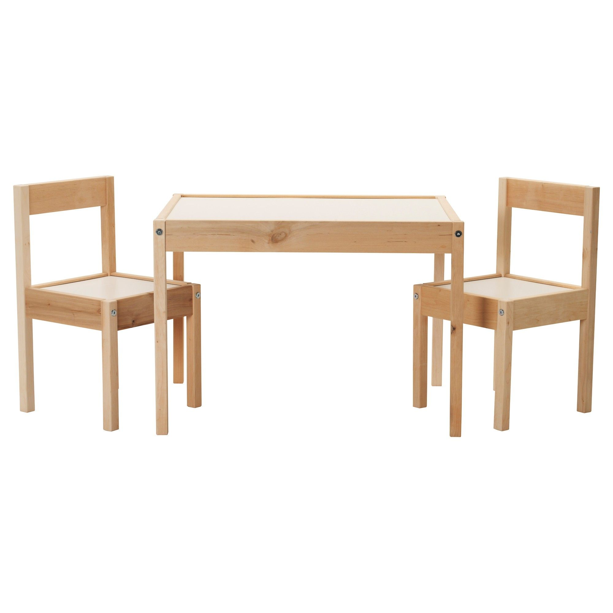 Superieur Kids Room Furniture Rectangle Oak Wood Table And Chairs With White Laminate  Top Surface And Seat