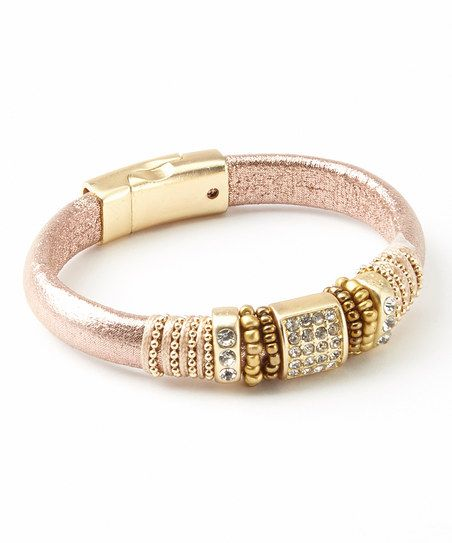 Gold & Blush Beaded Leather Bracelet     love this!!!
