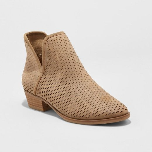 Women's Lucile Cut Out Perforated Booties - Merona Taupe Brown Size: 11