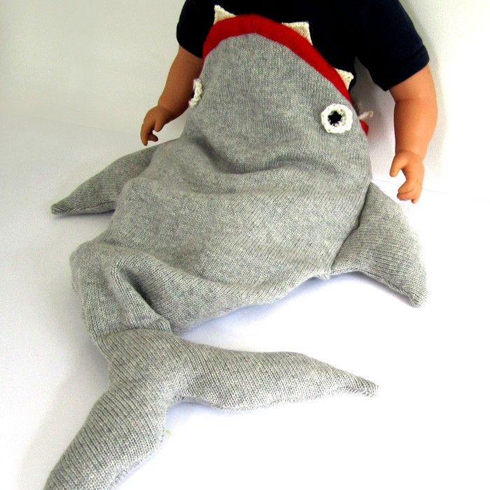 the miniature knit shop shark sleeping bag - baby sleepers/blankets - accessories   Thumbeline