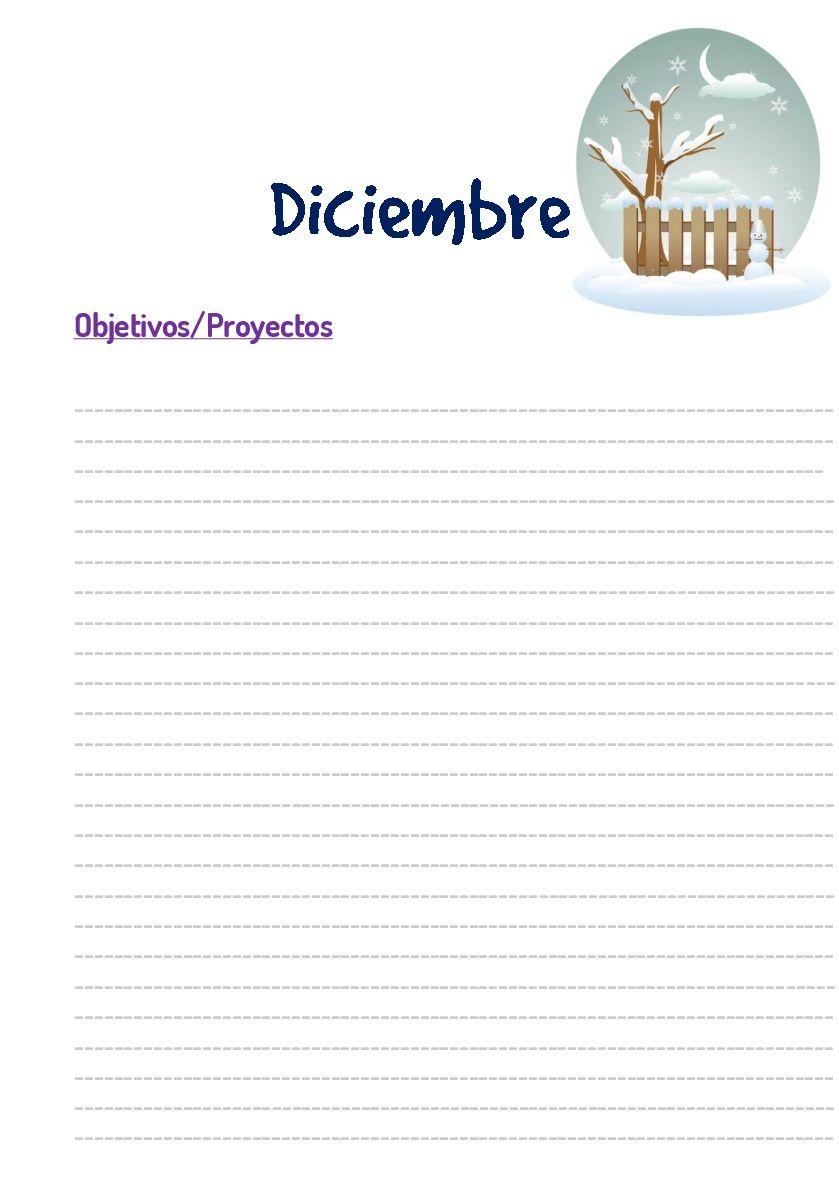 Plantilla objetivos mensuales de agenda perpetua imprimible gratis ...