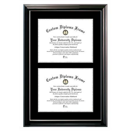 11x14 Double Degree Classic Black Certificate Frame With Black Silver Mats In 2019 Certificate Frames Frame Home Decor Pictures