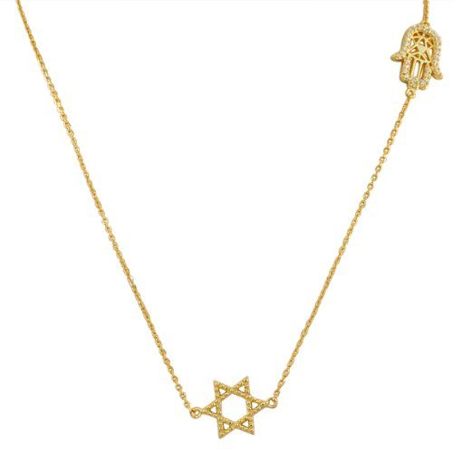Sterling Silver Yellow Gold Plated Womens Evil Eye Hamsa Jewish Star of David Pendant Necklace
