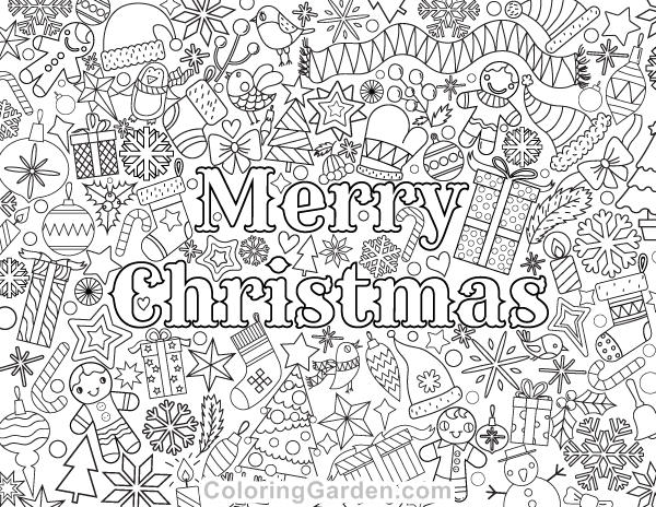 Free printable merry christmas adult coloring page download it in pdf format at http coloringgarden com download merry christmas coloring page