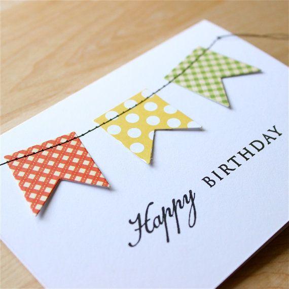 Syntymäpäiväkortti - Stitched Banner Birthday Card, Handmade Birthday Card, Birthday Banner