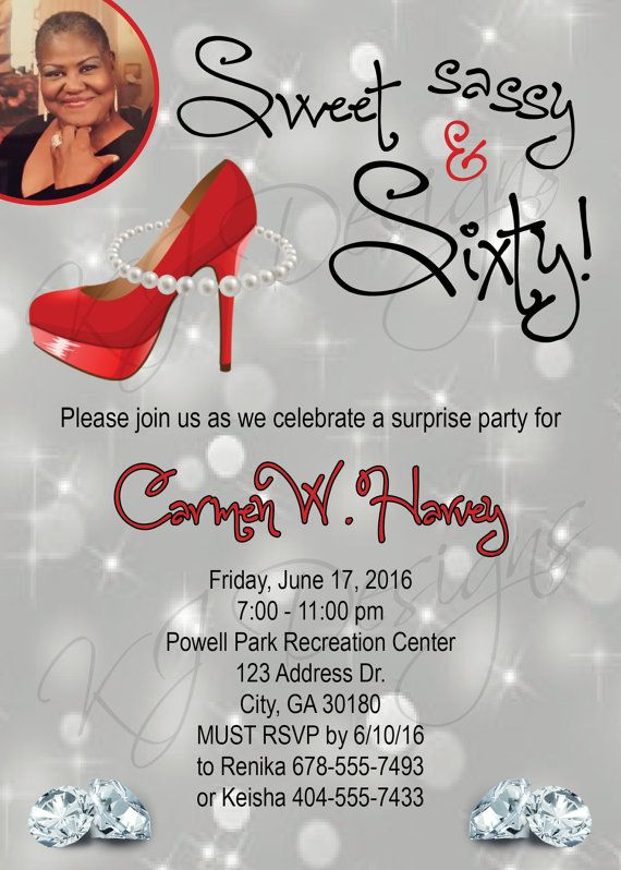 60th Birthday Invitation Sweet Sassy And Sixty Red Black Theme Heels