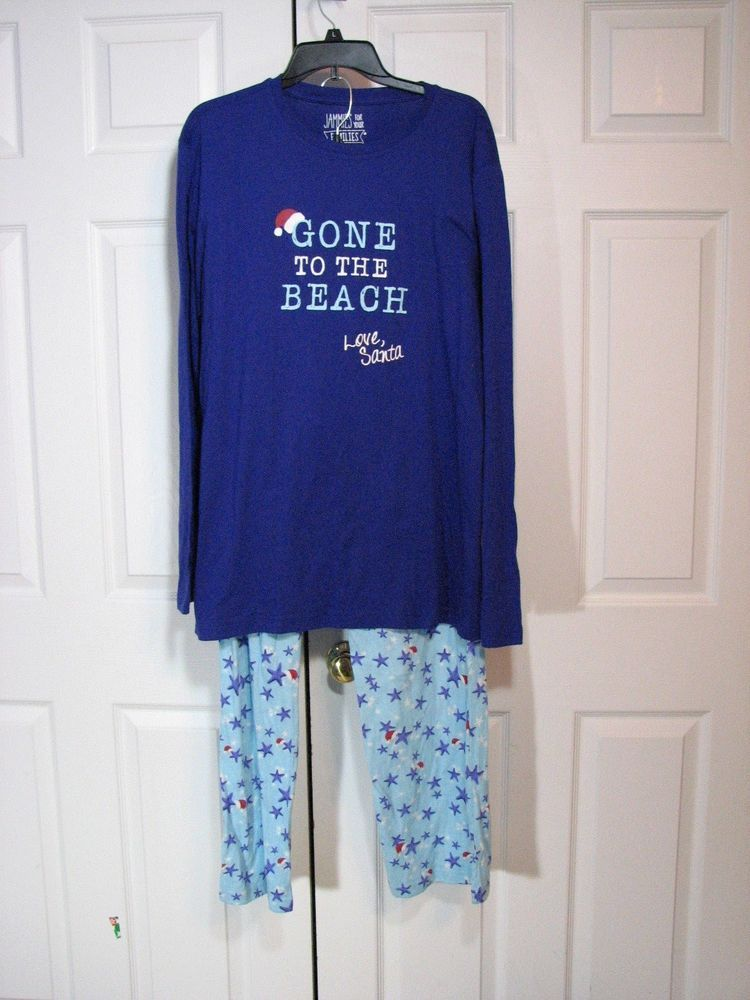 Jammies for your Families Men Gone to Beach Santa 2 pc Set L Purple Blue  Pajamas  JammiesforYourFamilies  PajamaSets bdc5301e8