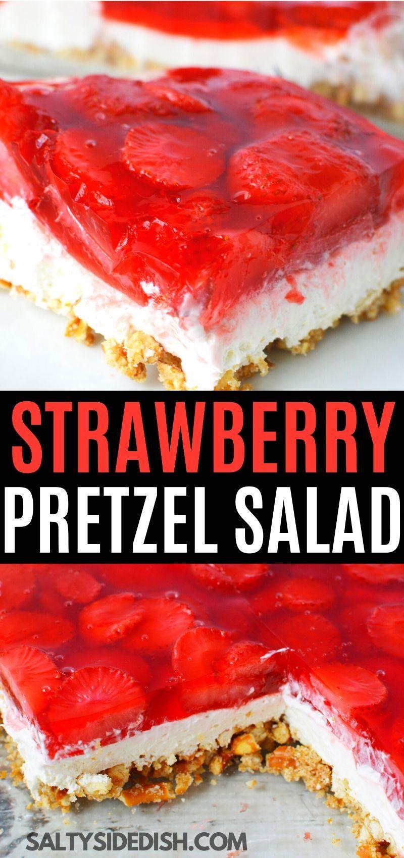Strawberry Pretzel Jello Salad Recipe In 2020 Strawberry Pretzel Jello Salad Jello Pretzel Salad Strawberry Pretzel Salad Recipe