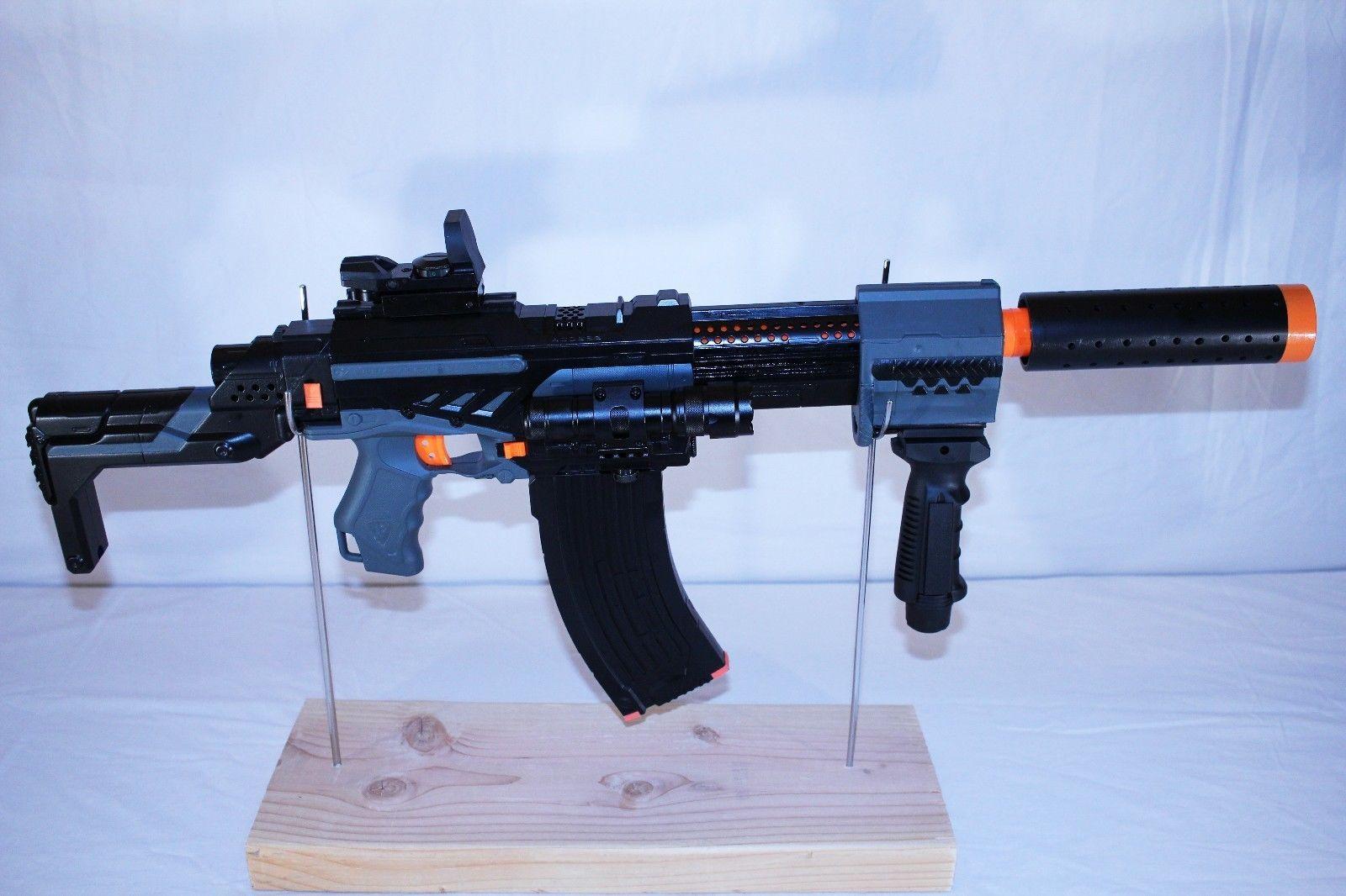 Modded Nerf Alpha Trooper CS-18 Reflex sight, Red Dot laser, Tactical  flashlight