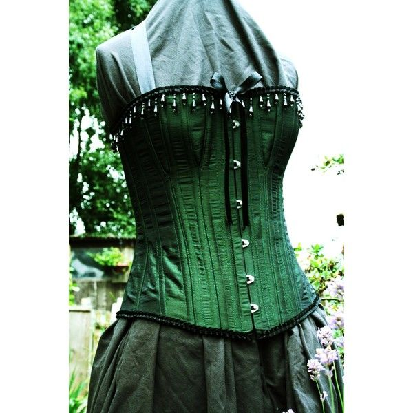 Emerald Green Corset, Steel Boned Overbust with cups, Custom Made,... ❤ liked on Polyvore