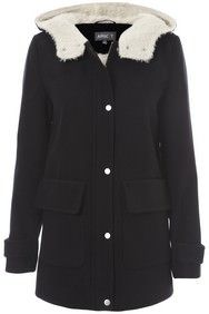 Black Faux Fur Hood Coat