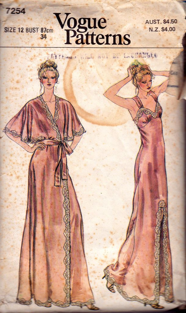 fa9082052d Vogue 7254 Maxi Length Nightgown   Robe Vintage Sewing Pattern Boho 70s  sleepwear Size 12 Bust 34 inches