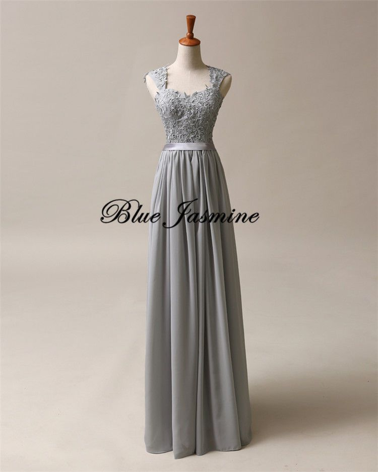 Stock Long Formal Evening Gown Gray Bridesmaid Prom Dress Wedding ...