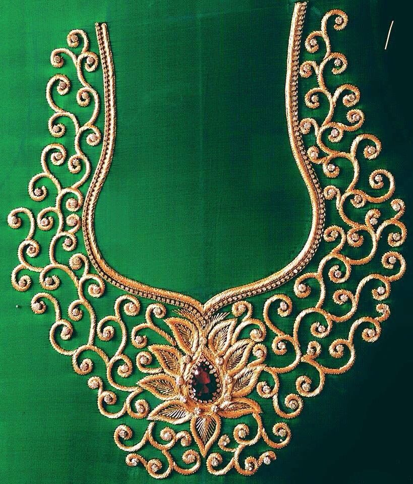 #Intricate Embroidery #golden Thread Work #green | ~ BlOuSE IdEaS ~ | Pinterest | Embroidery ...