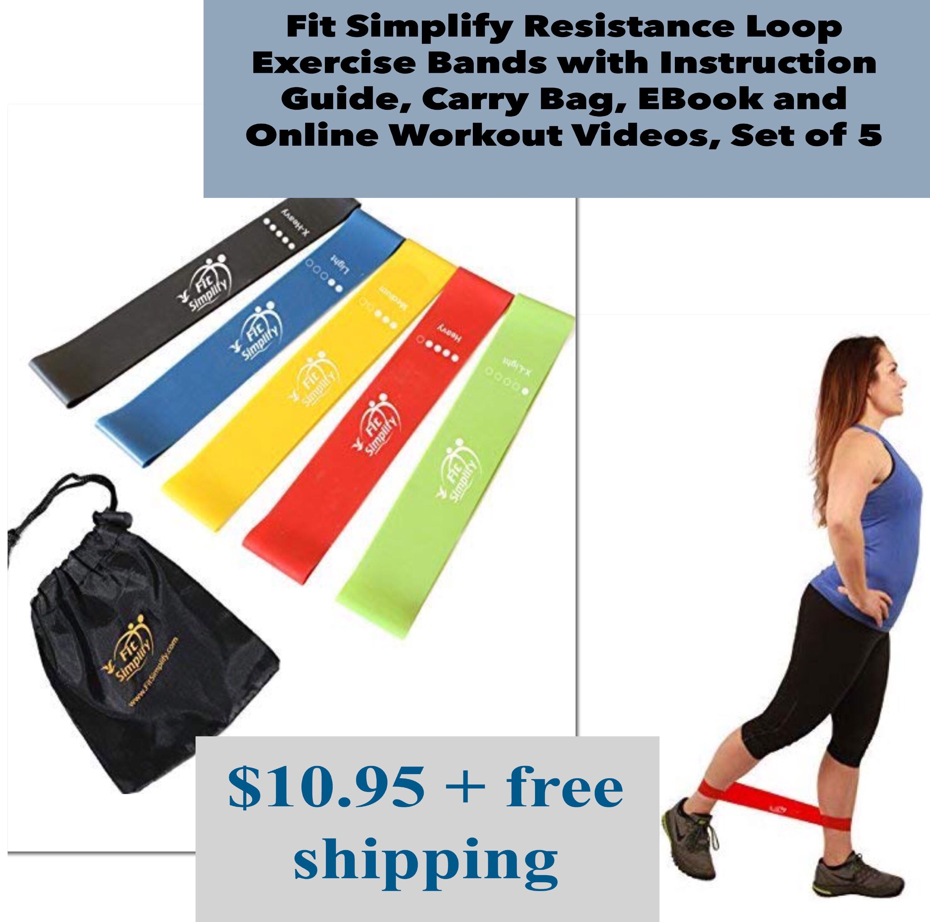 Fit Simplify Resistance Loop Exercise Bands with Instruction Guide Carry Bag