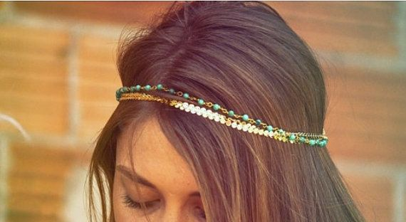 Trendy Layered Headband Chain Boho Chic by JanuaryStyle on Etsy
