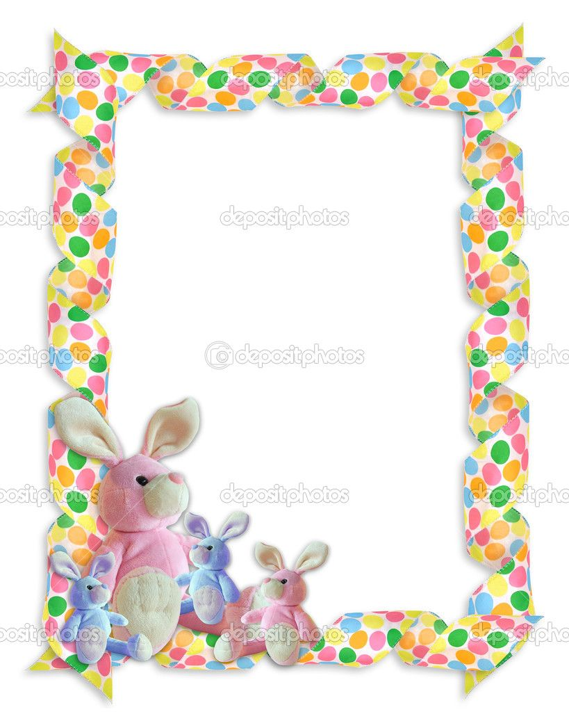 Easter egg page border easter border ribbons bunnies stock image