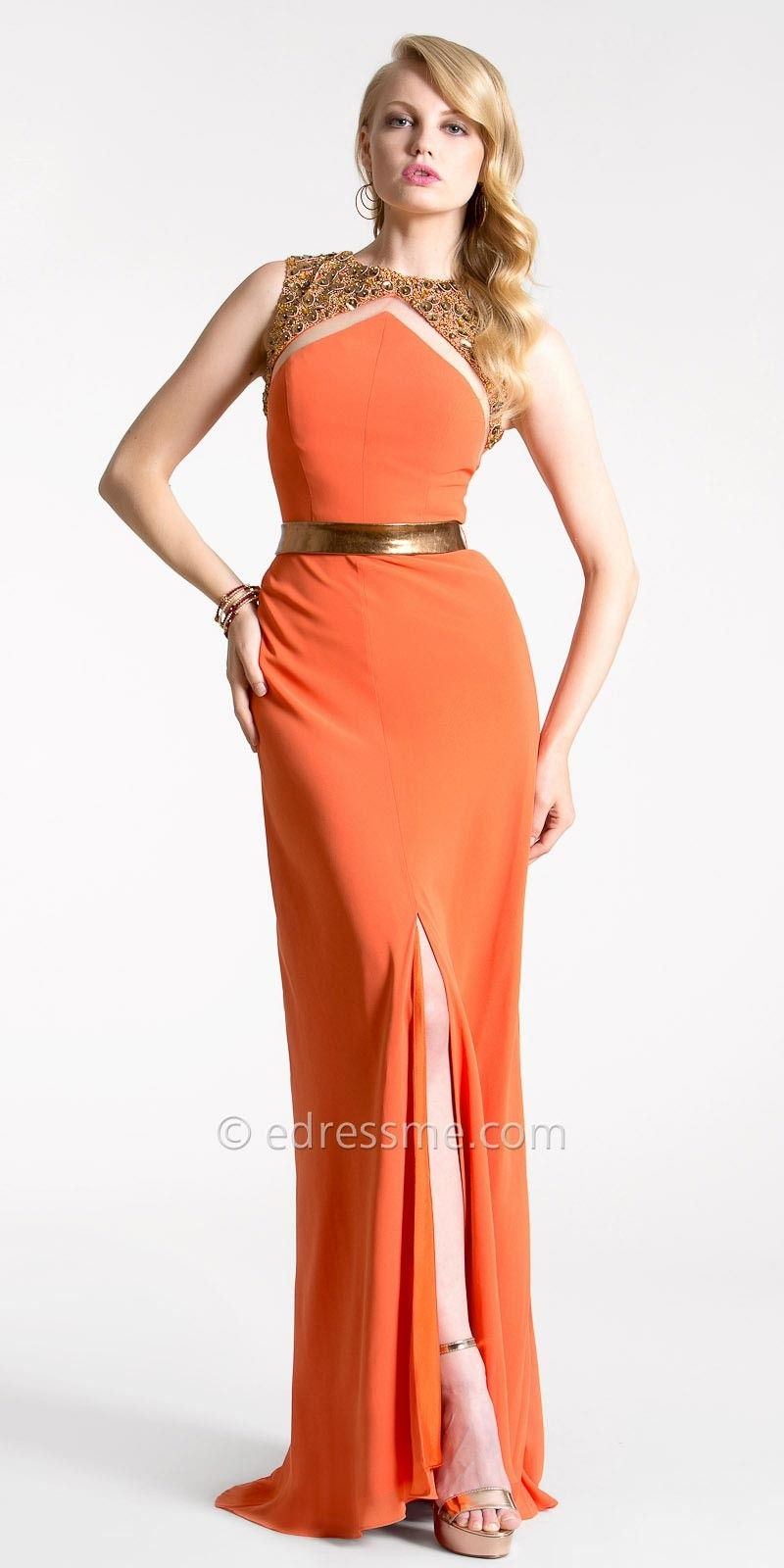 I\'m obsessed with this orange Embellished Collar Evening Gown by ...