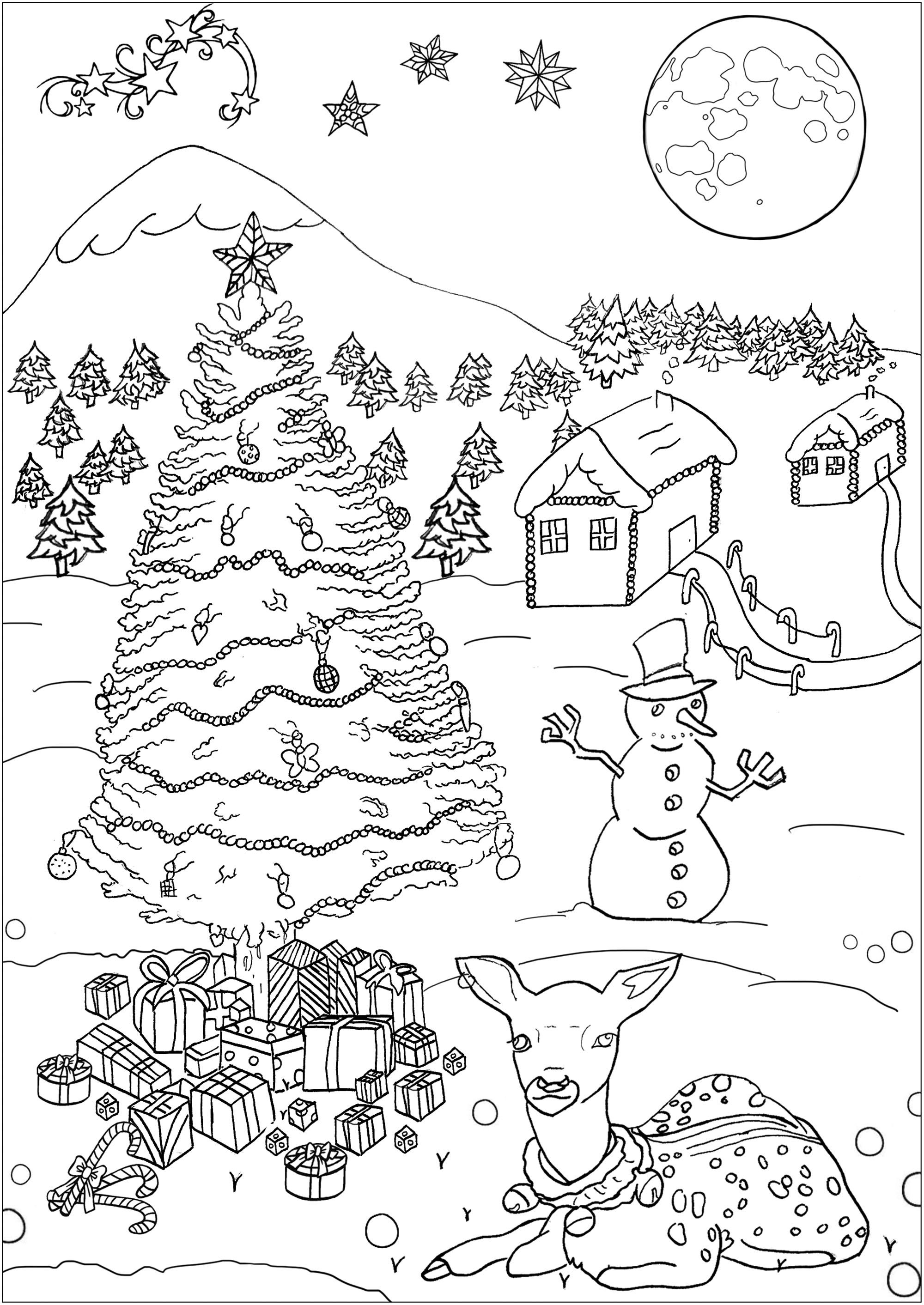 Christmas Landscape Christmas Coloring Page With A Pretty Lodge A Tree A Snowm Christmas Tree Coloring Page Coloring Pages Winter Christmas Coloring Pages