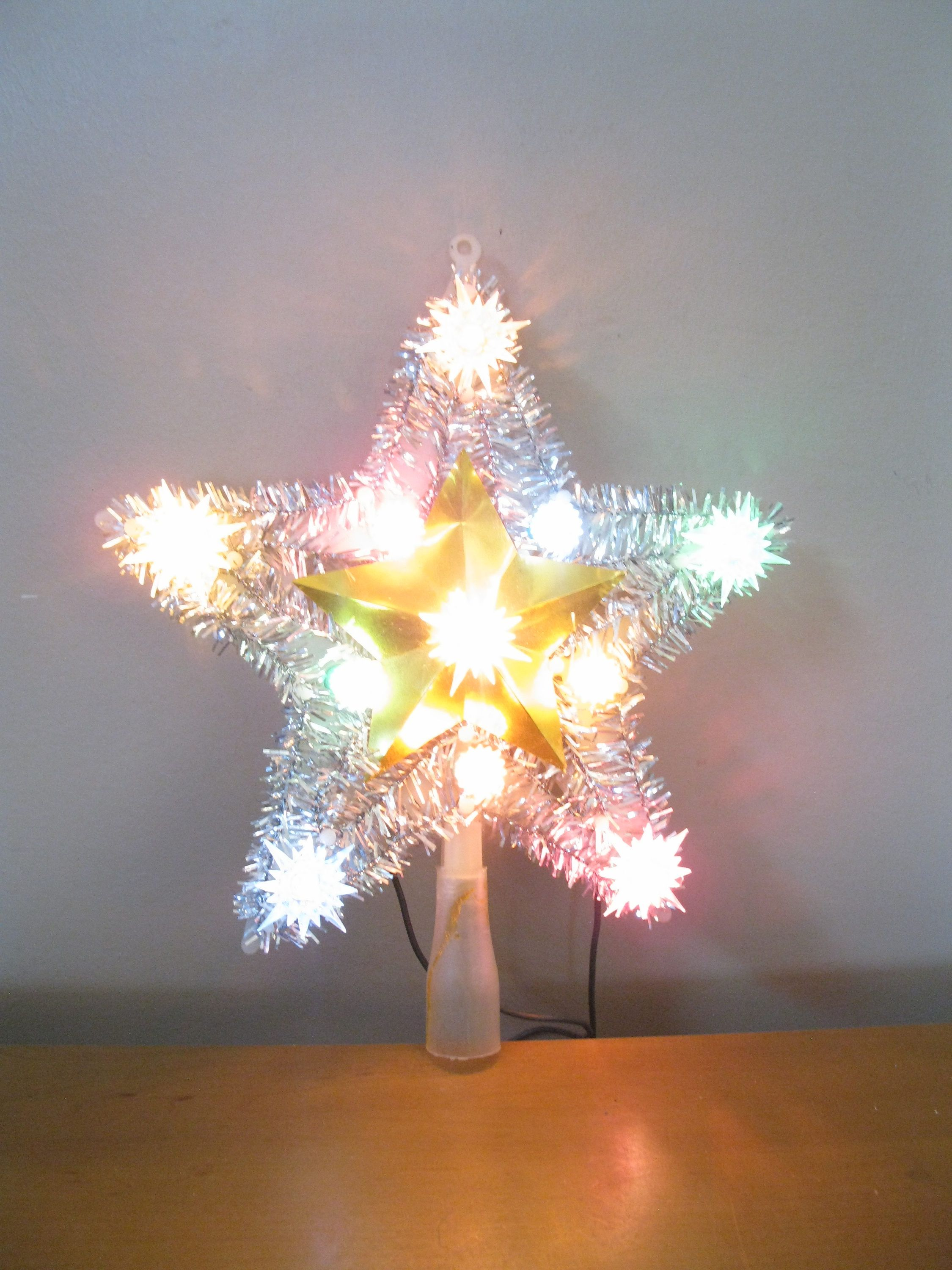 vintage blinking star tree topper 11 light christmas tree ornament silver tinsel vintage christmas decor retro christmas lighted star by
