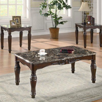 3-Piece Traditional Faux Marble Occasional Table Set by Coaster by Coaster Home Furnishings. $405.54. Beveled edge faux marble tops on each piece. Ornate wood mouldings on wood frame and thick legs. Beautifully crafted and detailed, this coffee & end table set will instantly bring a rich, sophisticated style to your home. Beveled edge faux marble tops on each piece provide the perfect, easy-to-wipe surface for displaying artwork or holding drinks, books, and lamps. Ornate wood ...