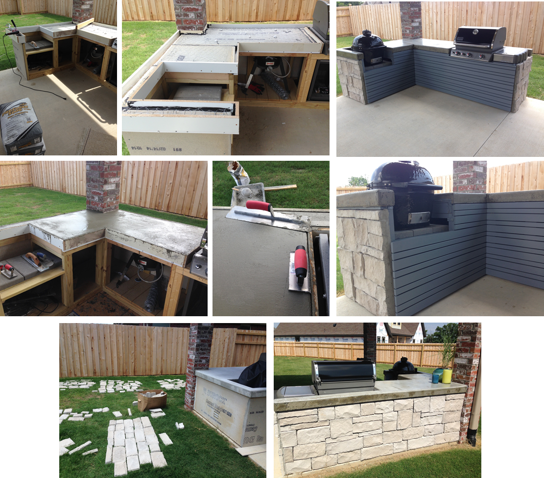 The Outdoor Kitchen Built Around My Ceramic Grill And Weber 4 Week Project Is Complete
