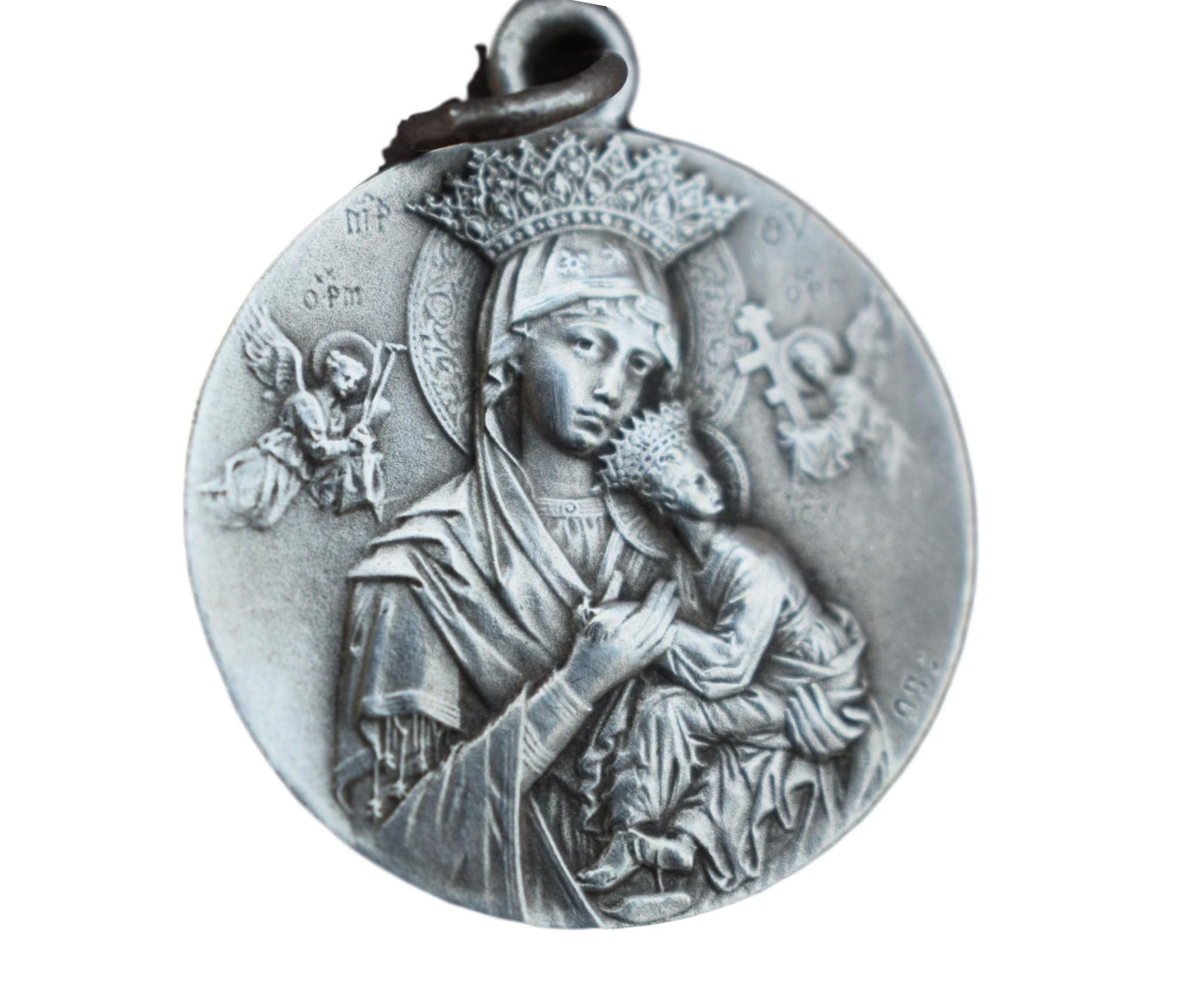 Holy mary our lady of perpetual help and saint gerard medal french holy mary our lady of perpetual help and saint gerard medal french vintage silver st aloadofball Image collections