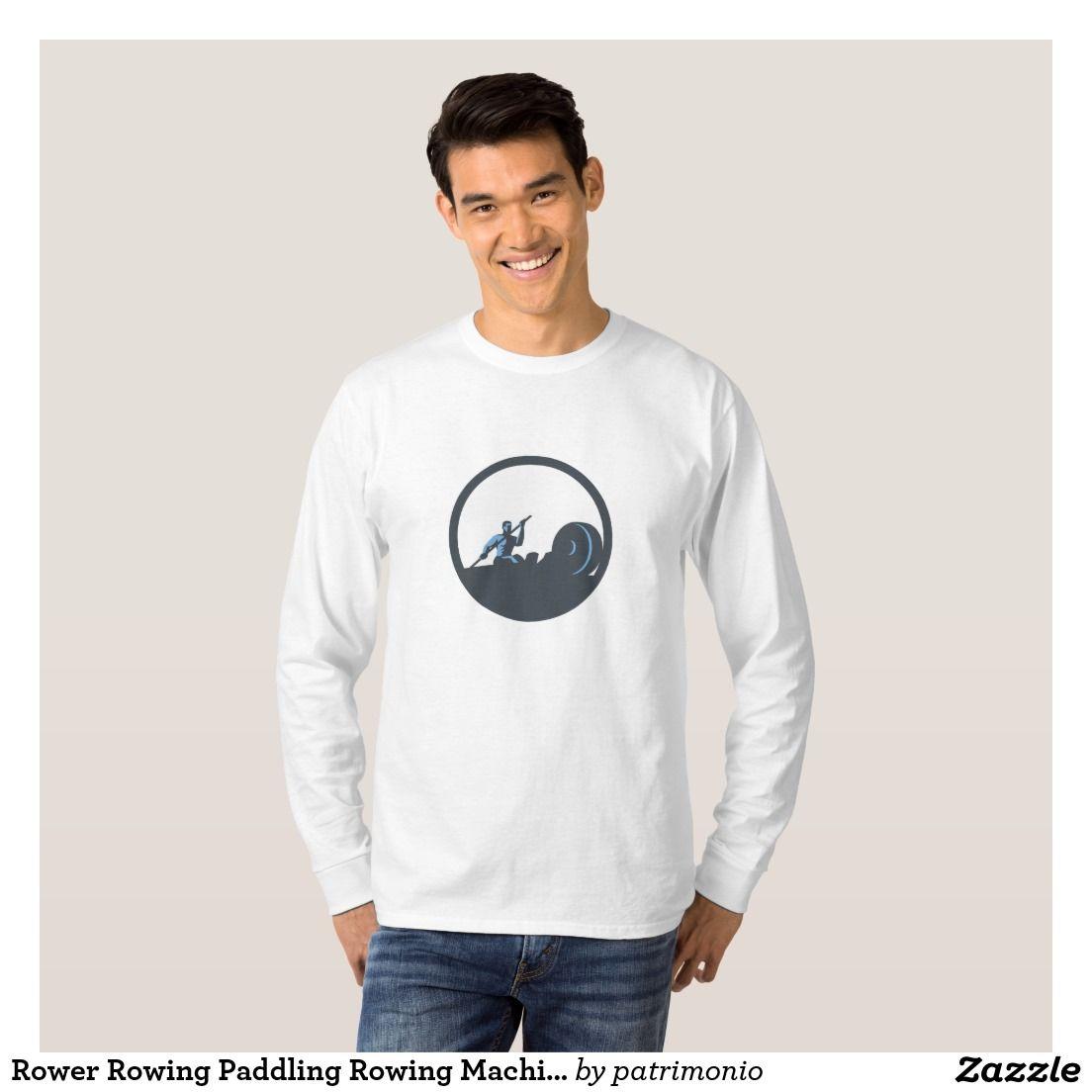Rower Rowing Paddling Rowing Machine Circle Retro T Shirt. Illustration of a…