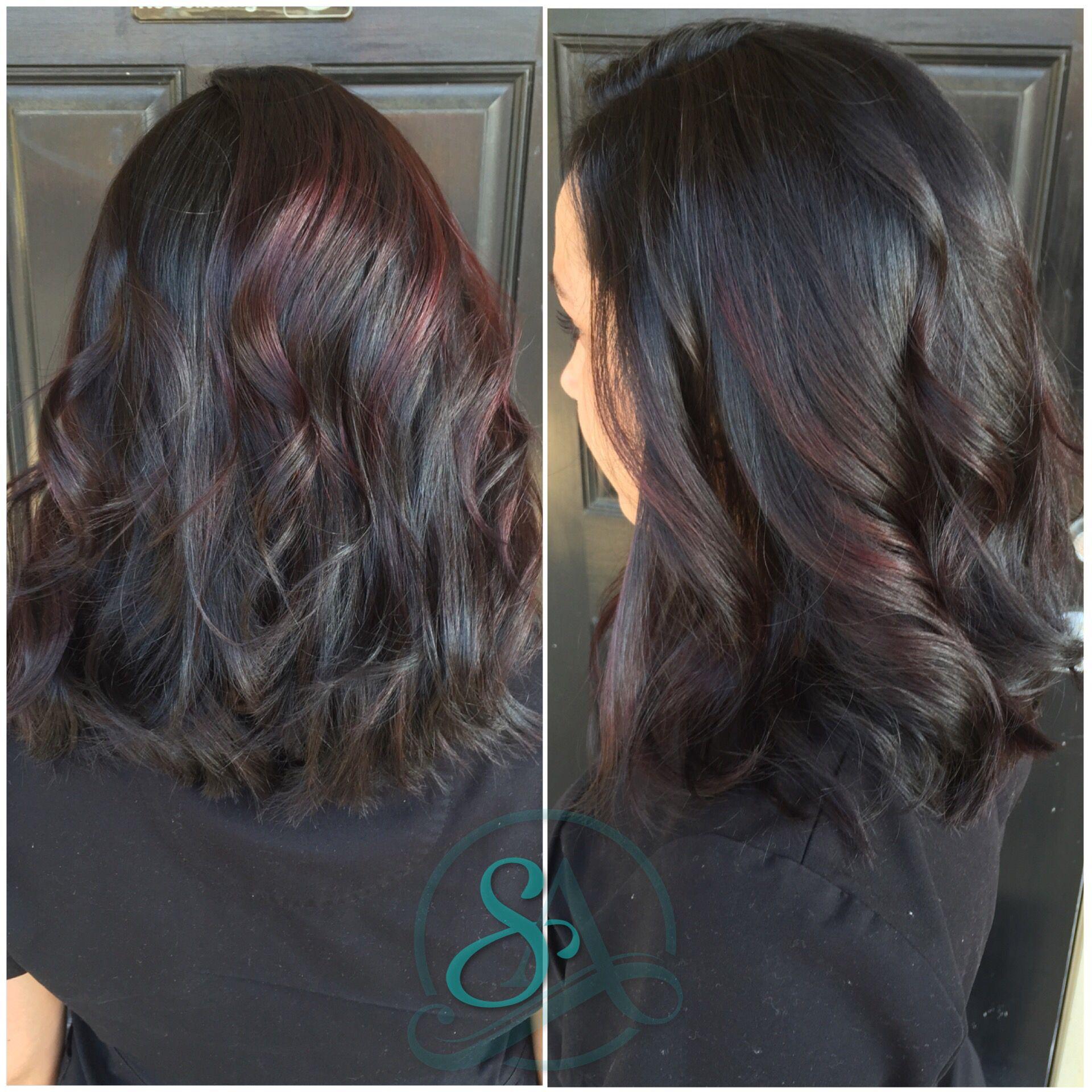 Violet Balayage For Fall Dark Hair Balayage Medium Length Haircut Dark Brown Hair Balayage Balayage Hair Dark Balayage Hair Dark Brown Hair Balayage
